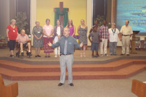 Our new pastor, Rev Tony Dawson, welcomes new members